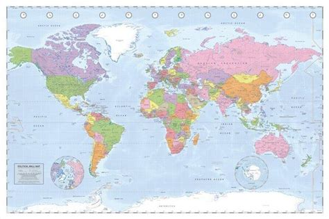 map world poster map posters political world map miller projection poster
