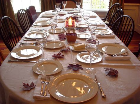 Dining Room Table Setting Extensive White Decorating Table For Thanksgiving With Orange Fall Leafs Homes Showcase