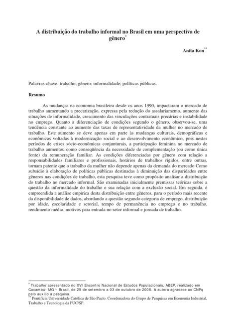 A distribuição do trabalho informal no Brasil   Gender