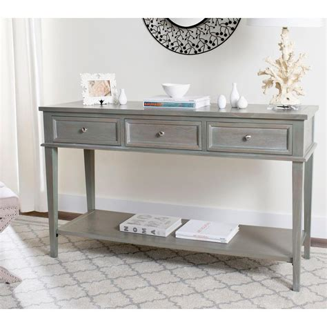 gray wood console table safavieh manelin ash gray storage console table amh6641c