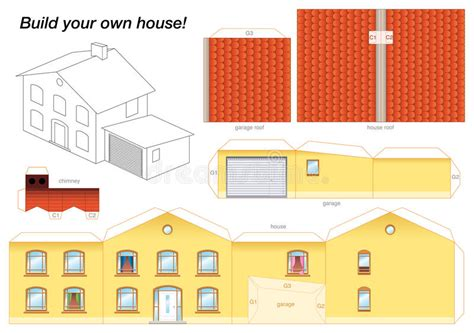 chiminea glue paper model house yellow stock vector illustration of