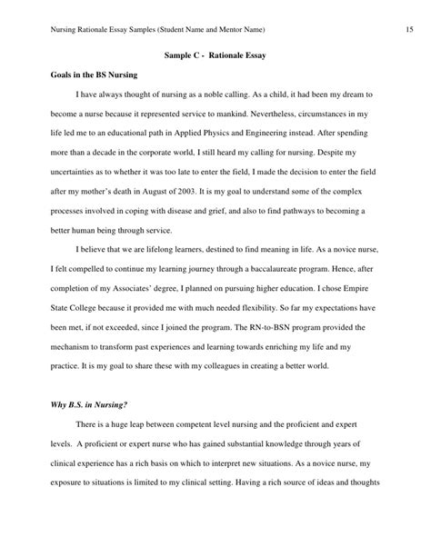 Resume Sample Nurses Experience by Thesis Rationale Example