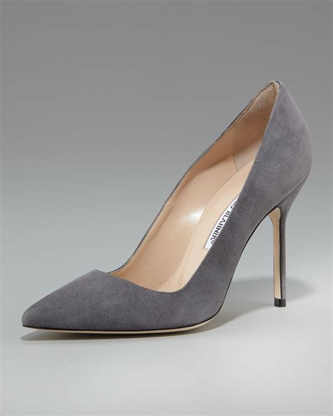 manolo blahnik high heels manolo blahnik point toe high heel in gray lyst