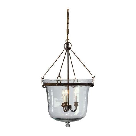 Glass Lantern Chandelier Glass Cloche Three Light Chandelier