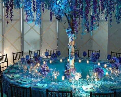 blue and aqua wedding reception weddings