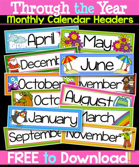 printable calendar headings powers of 10 math face off 5 nbt 2 month labels