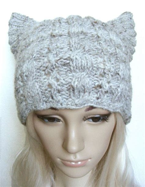 Beige Beanie Cat Ear Wool Hat s knitted cat hat cat ear hat knit cable beanie