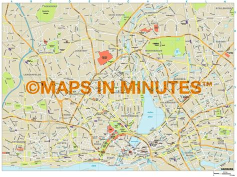 printable map hamburg royalty free hamburg illustrator vector format city map