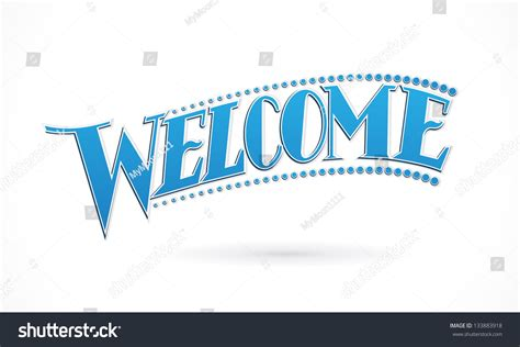design banner welcome blue welcome lettering design vector stock vector