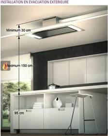 hotte de plafond avec 233 clairage par leds de 100cm de