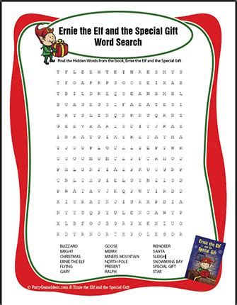 ernie the elf gift passing game free word search