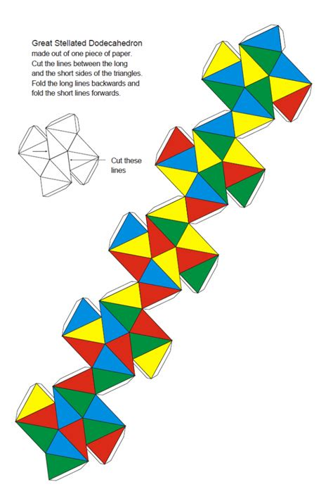 Paper Great Dodecahedron - paper kepler poinsot polyhedra in color