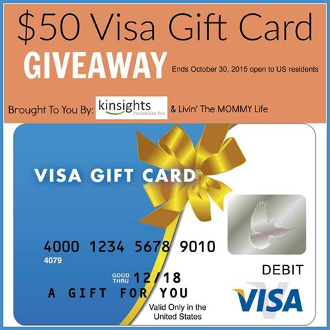 Gift Card Giveaways - giveaway 50 visa gift card from kinsights livin the mommy life