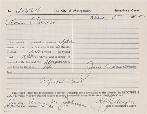 Congress Arrest Records Remembering Rosa Parks The Of Civil Rights