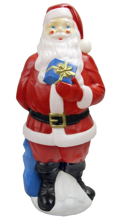 general foam plastics 34 quot outdoor light up blow mold santa decoration