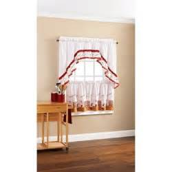 Kitchen Swag Curtains Valance Anns Home Decor And More Pastry Chef Baker White 24l Tiers Swag Valance Kitchen Curtains Set