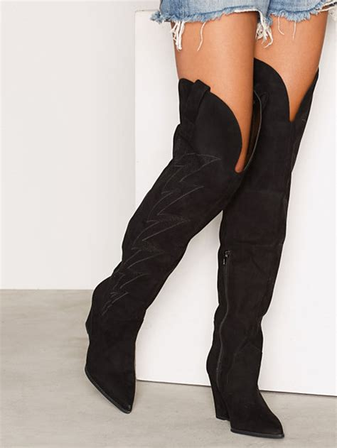 thigh high cowboy boot nly shoes black boots shoes