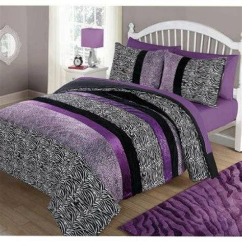 Girls Purple Bedding Full Size Zebra Queen Comforter Set Bedding Purple