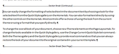 types of section breaks change the type for a section break in word 2007 and 2010