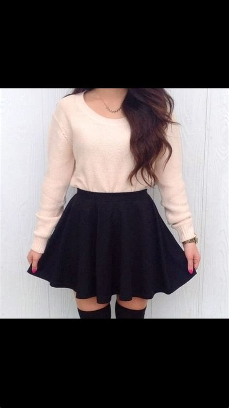 skater skirt high knee socks skater skirts