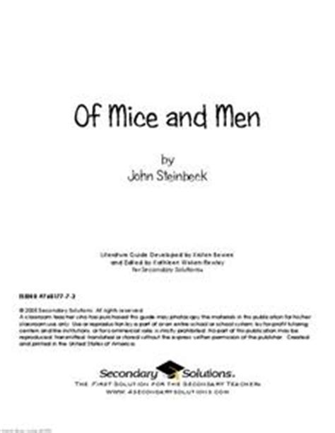 Of Mice And Worksheets by Of Mice And A Literature Guide 9th 12th Grade