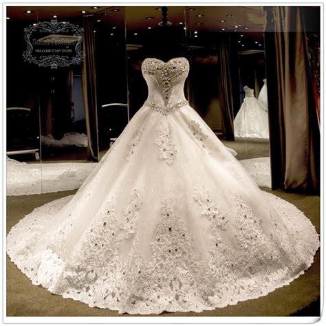 2016 wedding dress with royal train beading sweetheart off