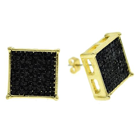Square Earrings square black 16mm earrings earrings