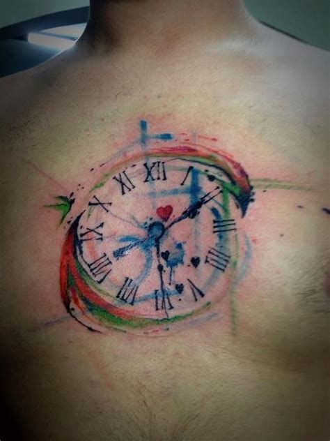 watercolor chest tattoo ideas watercolor clock on left wrist