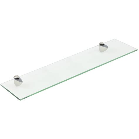 Floating Shelf Fixings by Hartleys Clear Glass Floating Wall Mounted Shelf Chrome