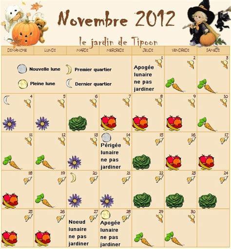 le calendrier lunaire du mois de novembre 2012