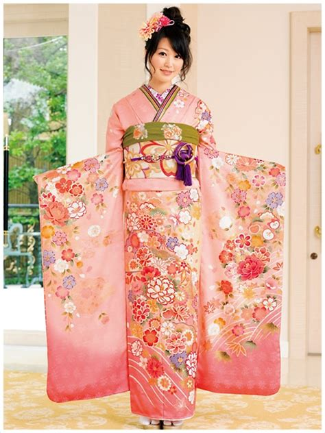 Kimono Pink beautiful furisode pink light green is such a