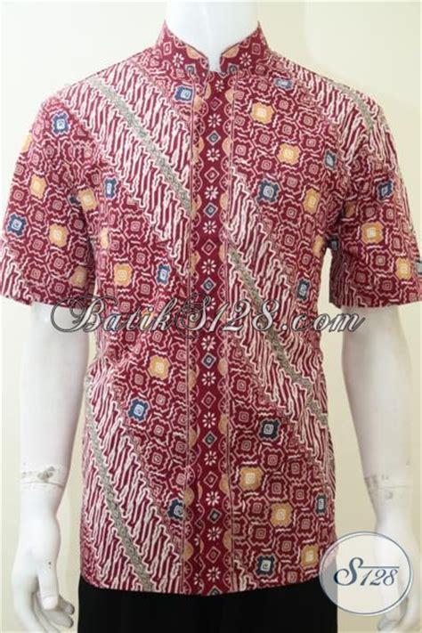 Baju Koko Motif Batik Slimfit Lengan Pendek Berkualitas Trendy jual kemeja batik lengan panjang warna merah keren