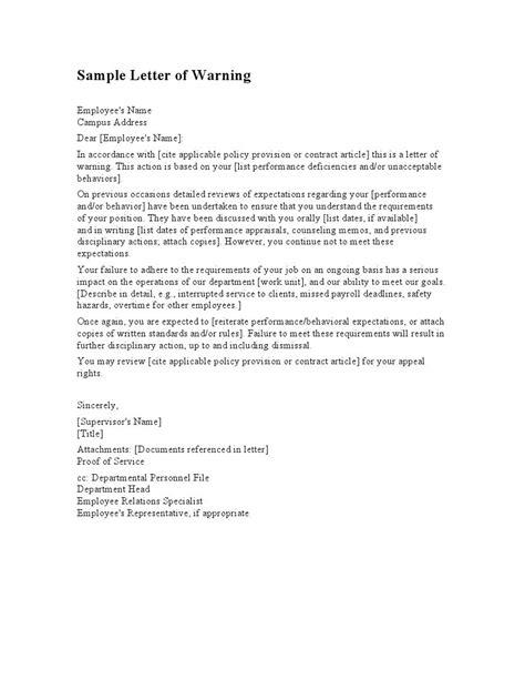 employee warning letter template letters sle letters