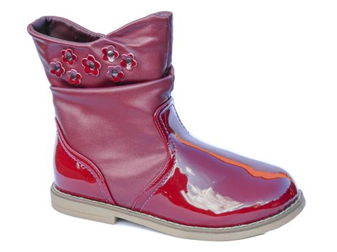 new toddler burgundy patent ankle boots fur lined uk