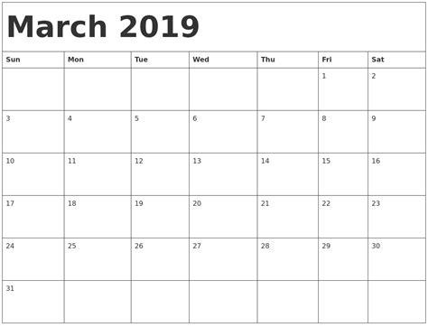 Calendar 2019 March January 2019 Calendar