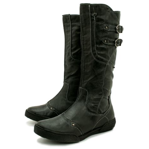 flat boots womens black leather style biker buckle flat knee boots