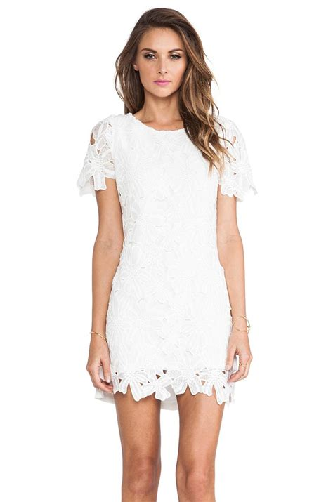 White Lace Dress j o a flower lace dress in white