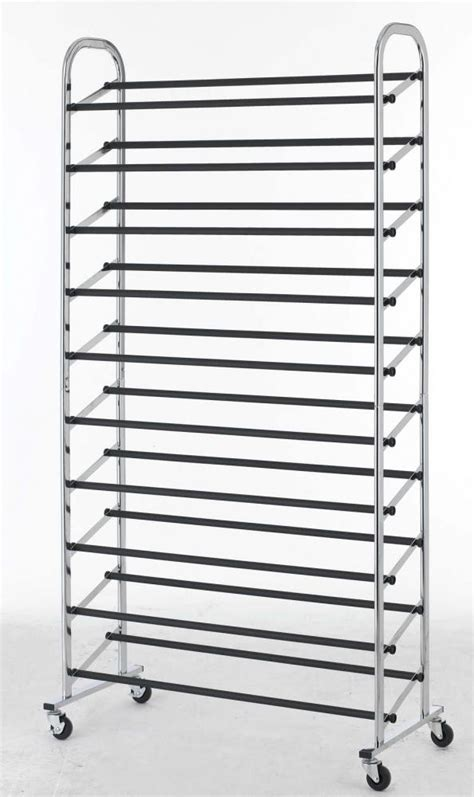 50 pair free standing 10 tier shoe tower rack chrome metal