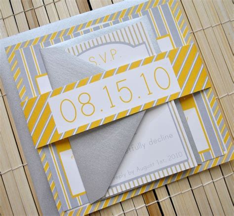 wedding invitation yellow motif augusta wedding invitation suite yellow grey silver by