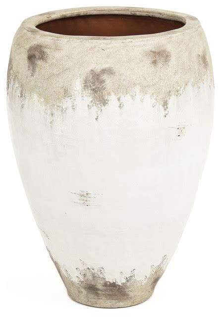 Wide Vases siena large white rustic distressed white ceramic wide top floor vase traditional vases by