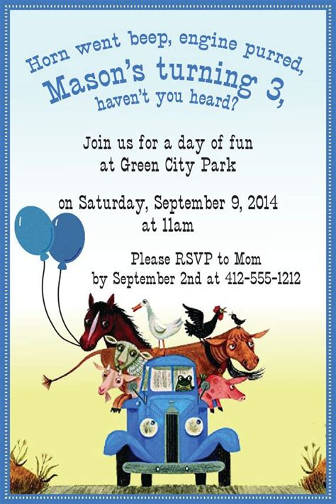 little blue truck 0857637347 little blue truck invite by akellydesign on etsy cainans second birthday