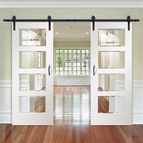 double sliding door track severo white  pane doors