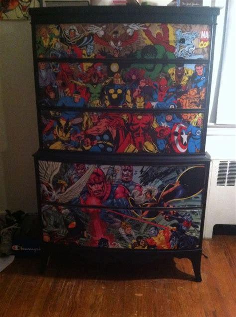 painted dresser ideas for a boy decoupaged superhero dresser painted with black chalk