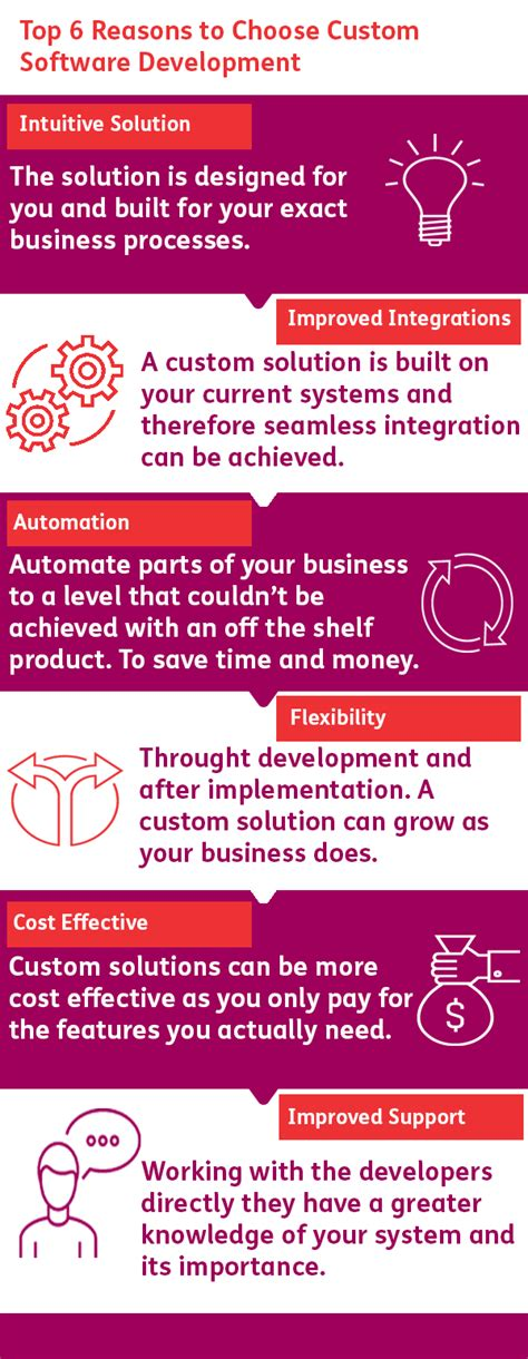 top six reasons to check custom software development infographic allsop software