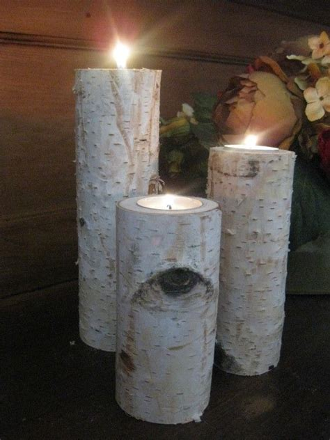 construction paper tree lit with tea light 3 large birch bark log tea light candle by birchhousemarket outdoor trees a