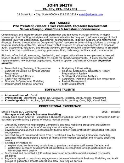 Sle Resume For A Vice President Position resume templates vice president sle resume
