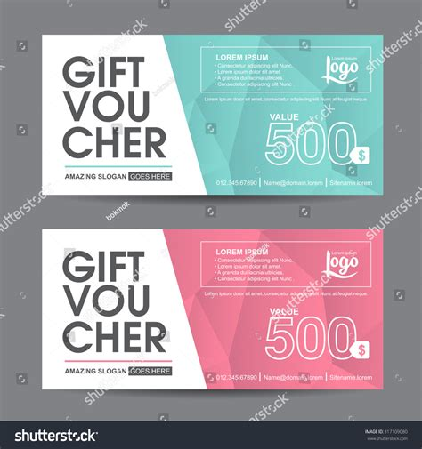 business voucher template gift voucher template colorful patterncute gift stock