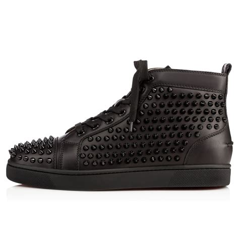 Spikes On Black louis spikes s flat black black bk leather shoes
