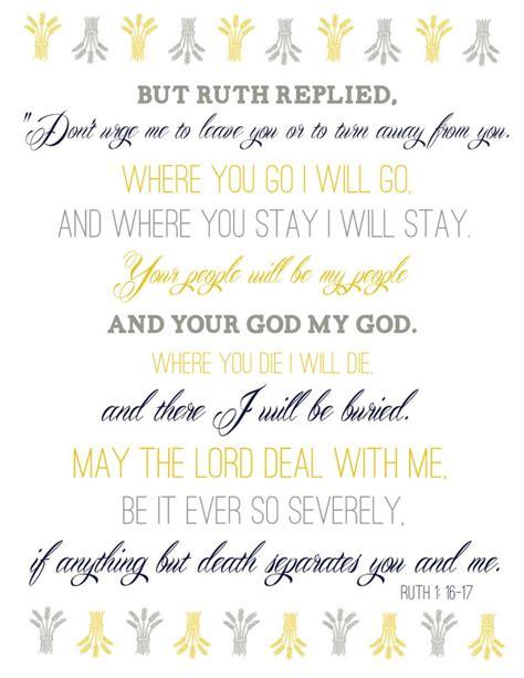 Wedding Niv Bible Verses by Wedding Bible Verse Ruth 1 16 17 Words