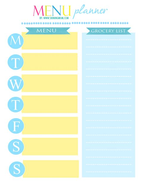 free printable mom planner 2015 freebie monday weekly meal planner